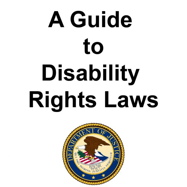 A Guide to Disability Rights Laws, department of justice logo