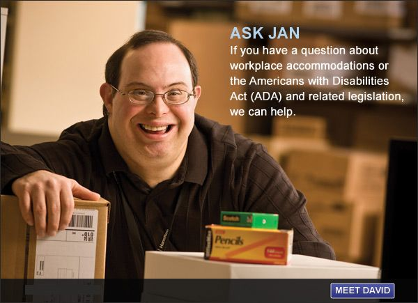 picture of a man resting with his hand on a box, behind a box of pencils and scotch tape. Text reads: Ask JAN: If you have a question about workplace accommodations or the Americans with Disabilities Act (ADA) and related legislation, we can help.