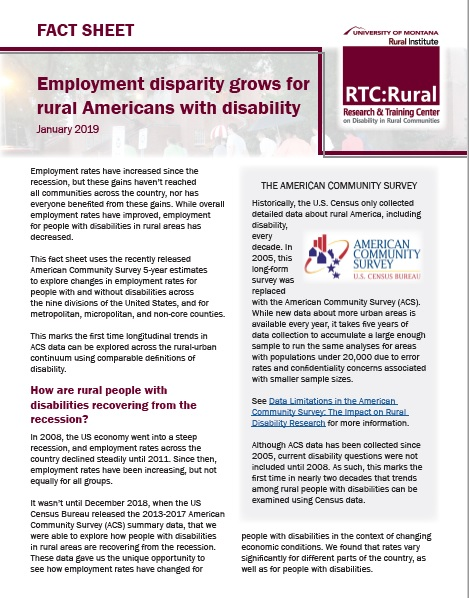 Cover of the Employment disparity grows for rural Americans with disability fact sheet.