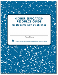 Higher Education Resource Guide for Students with Disabilities, written on a composition notebook.