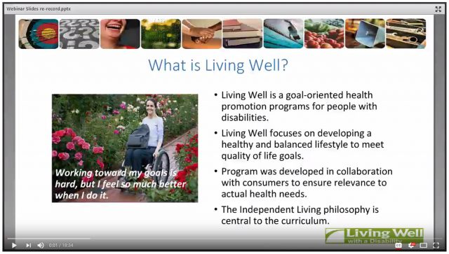 first frame of video webinar on living well with a disability program