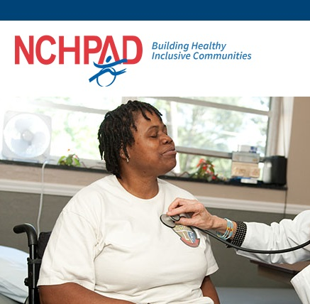 Screenshot from NCHPAD website, picture of woman at doctor's office having her heartbeat listened to by a dr with a stethoscope.