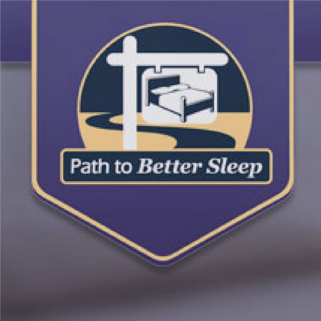 Path to Better Sleep logo with a mattress on a sign over a path