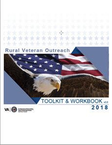 Rural Veteran Outreach Toolkit & Workbook 2018 cover. Features a bald eagle flying in front of an American flag.