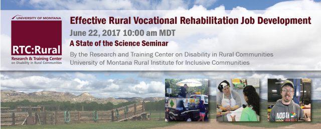 banner image for webinar on effective rural vocational rehabilitation job development