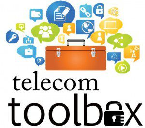 Telecom Toolbox logo with a toolbox surrounded by speech bubbles containing icons related to networking and online activities