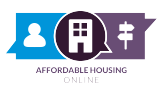 Affordable Housing Online. Logo is made of three speech bubbles. On the left, a blue bubble with a person icon. In the middle, a dark brown bubble with an apartment icon. On the right, a purple bubble with sign posts.