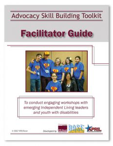 "cover of the document ""advocacy skill building toolkit facilitator guide"""