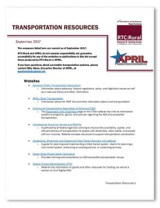"""cover of document titled """"transportation resources"""""""