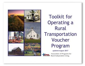 """cover of the document """"Toolkit for Operating a Rural Transporation Voucher Progerm"""""""