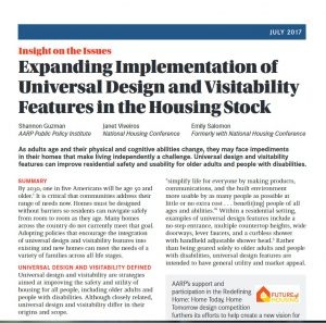 cover of report: expanding implementation of universal design and visitability features in the housing stock