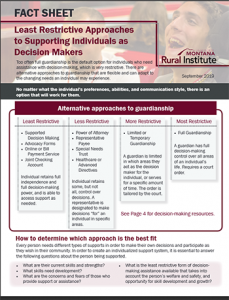 """Front page of """"Least Restrictive Approaches to Supporting Individuals as Decision Makers"""" fact sheet"""
