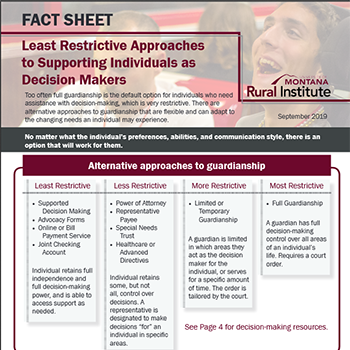 """Screenshot of cover page of """"Least Restrictive Approaches to Supporting Individuals as Decision Makers"""" fact sheet."""