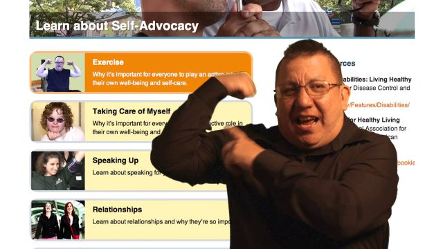 picture of a man flexing his bicep in front of a self-advocacy resource list