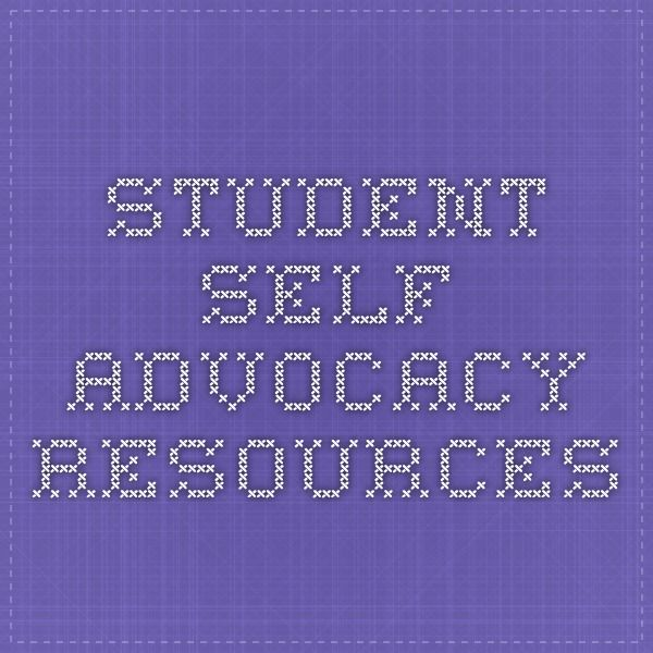 "picture of stitched words, reads ""student self advocacy resources"""